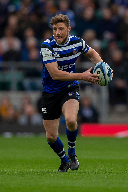 Bath Rugby's Rhys Priestland<br /> <br /> Photographer Bob Bradford/CameraSport<br /> <br /> Gallagher Premiership - Bath Rugby v Bristol Bears - Saturday 6th April 2019 - The Recreation Ground - Bath<br /> <br /> World Copyright © 2019 CameraSport. All rights reserved. 43 Linden Ave. Countesthorpe. Leicester. England. LE8 5PG - Tel: +44 (0) 116 277 4147 - admin@camerasport.com - www.camerasport.com