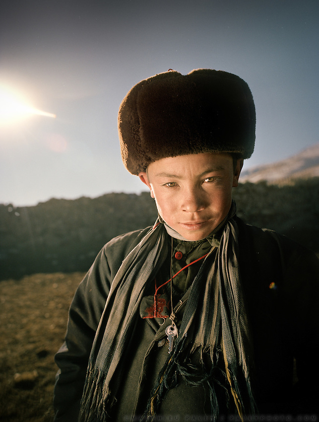 Portrait of Mujaheed, one of the Khan's younger son, will get married in summer 2008. Qyzyl Qorum campment, Abdul Rashid Khan's camp (leader of the Afghan Kyrgyz). .Winter expedition through the Wakhan Corridor and into the Afghan Pamir mountains, to document the life of the Afghan Kyrgyz tribe. January/February 2008. Afghanistan