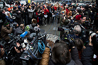 NEW YORK, NEW YORK - JANUARY 6: In the center some abused womens, talk to members of the media after Harvey Weinstein arrives when Harvey Weinstein arrives at the Manhattan courthouse. On January 6, 2020 in New York City. Weinstein pleaded not guilty to five counts of rape and faces a possible life sentence in prison. (Photo by Pablo Monsalve / VIEWpress)