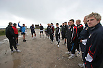 The players of Morecambe Football Club preparing to set off on a pre-season training run on Clougha Pike, Lancashire. The squad was preparing for the club's first-ever season in the Football League having been promoted from the Conference the previous season.  Photo by Colin McPherson.