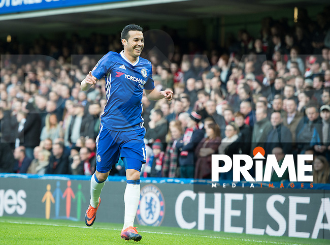 Chelsea's Pedro celebrating his goal during the FA Cup 4th round match between Chelsea and Brentford at Stamford Bridge, London, England on 28 January 2017. Photo by PRiME Media Images / Andrew Aleksiejczuk.