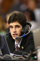 6 April 2008: Stanford Cardinal KZSU radio broadcaster Jake Kelman during Stanford's 82-73 win against the Connecticut Huskies in the 2008 NCAA Division I Women's Basketball Final Four semifinal game at the St. Pete Times Forum Arena in Tampa Bay, FL.