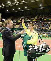 10-2-09,Rotterdam,ABNAMROWTT, Grigor Dimitrov wordt geinterviewd na overwinning op het centrecourt