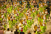 Imperatriz Leopolinense Samba School, Carnival, Rio de Janeiro, Brazil, 26th February 2017. Samba school dancers dressed as ranchers carrying agrotoxin sprayers.