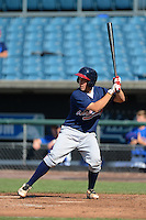 Cathcer Daniel Wasinger (16) of Eastlake High School in El Paso, Texas playing for the Atlanta Braves scout team during the East Coast Pro Showcase on August 2, 2013 at NBT Bank Stadium in Syracuse, New York.  (Mike Janes/Four Seam Images)
