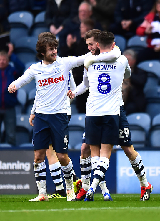 Preston North End's Tom Barkhuizen celebrates scoring his side's first goal <br /> <br /> Photographer Richard Martin-Roberts/CameraSport<br /> <br /> The EFL Sky Bet Championship - Preston North End v Blackburn Rovers - Saturday 24th November 2018 - Deepdale Stadium - Preston<br /> <br /> World Copyright © 2018 CameraSport. All rights reserved. 43 Linden Ave. Countesthorpe. Leicester. England. LE8 5PG - Tel: +44 (0) 116 277 4147 - admin@camerasport.com - www.camerasport.com