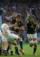 Twickenham, United Kingdom, Saturday, 3rd November 2018, RFU, Rugby, Stadium, England,   Ben YOUNGS, kicks clear from the back of the scrum, during the Quilter, Autumn International, England vs South Africa, © Peter Spurrier