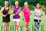 Amanda Bentley Currans, Kate Falvey, Christine O'Sullivan and Ayshe Djemal are ready to serve up a good game at the John Ross Jewellers sponsored Ladies Doubles Day competition at the Tralee Tennis Club on Saturday.