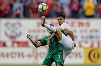 Chester, PA - Monday May 28, 2018: Antonee Robinson, Luis Alí during an international friendly match between the men's national teams of the United States (USA) and Bolivia (BOL) at Talen Energy Stadium.
