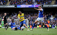 Leeds United's Kemar Roofe battles with Ipswich Town's Trevoh Chalobah and James Bree<br /> <br /> Photographer Hannah Fountain/CameraSport<br /> <br /> The EFL Sky Bet Championship - Ipswich Town v Leeds United - Sunday 5th May 2019 - Portman Road - Ipswich<br /> <br /> World Copyright © 2019 CameraSport. All rights reserved. 43 Linden Ave. Countesthorpe. Leicester. England. LE8 5PG - Tel: +44 (0) 116 277 4147 - admin@camerasport.com - www.camerasport.com