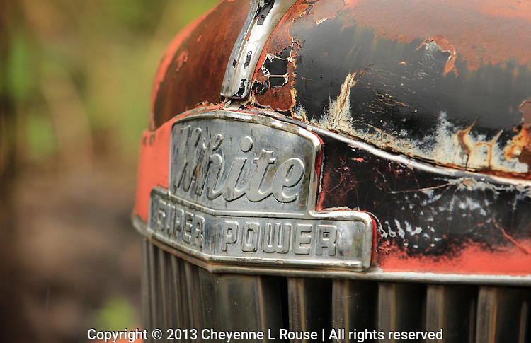 White Super Power Hood detail - AZ - old truck