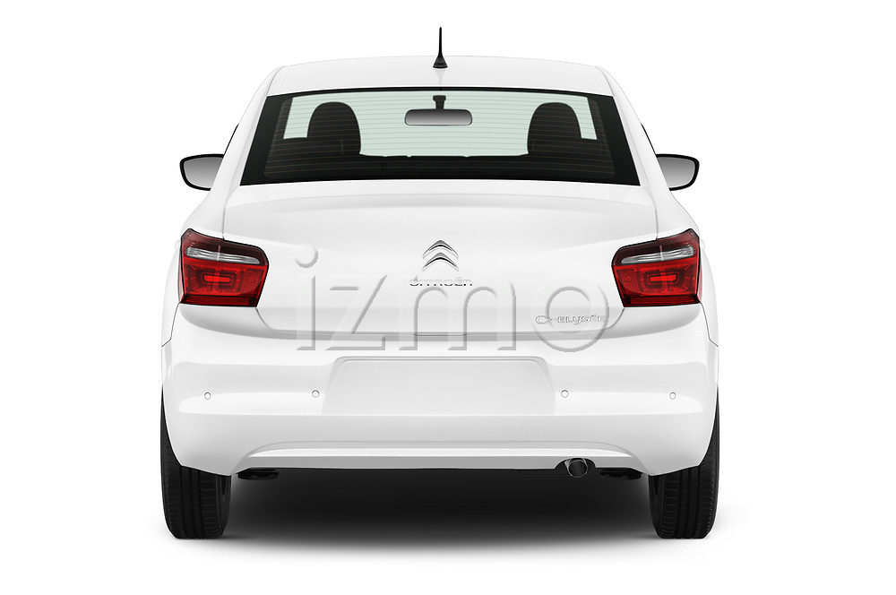 Straight rear view of 2017 Citroen C-Elysee Live 4 Door Sedan Rear View  stock images