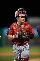 Williamsport Crosscutters catcher Mitchell Edwards (33) during a NY-Penn League game against the Batavia Muckdogs on August 26, 2019 at Dwyer Stadium in Batavia, New York.  Batavia defeated Williamsport 10-0.  (Mike Janes/Four Seam Images)