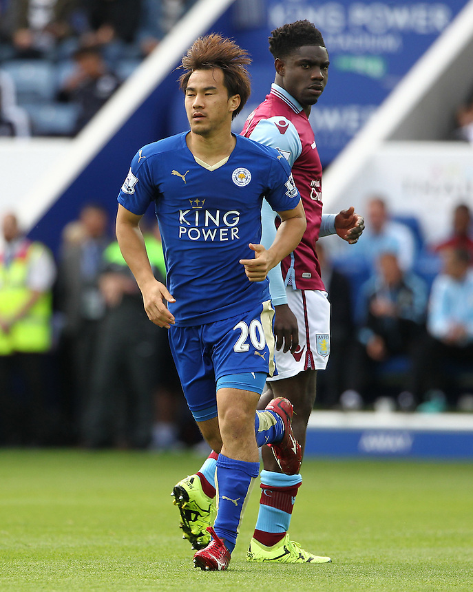 Leicester City's Shinji Okazaki in action during todays match<br /> <br /> Photographer Rachel Holborn/CameraSport<br /> <br /> Football - Barclays Premier League - Leicester City v Aston Villa - Sunday 13th September 2015 - King Power Stadium - Leicester<br /> <br /> <br /> &copy; CameraSport - 43 Linden Ave. Countesthorpe. Leicester. England. LE8 5PG - Tel: +44 (0) 116 277 4147 - admin@camerasport.com - www.camerasport.com
