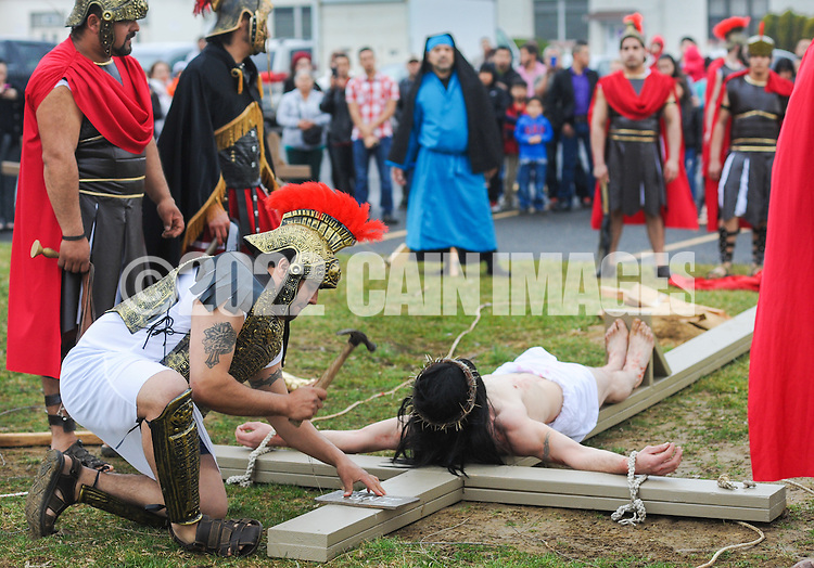 Roberto Marquez, of Bensalem, Pennsylvania portrays Jesus as he is nailed to the cross during the Stations of the Cross leading to his crucifixion on Good Friday April 3, 2015 at Our Lady of Fatima in Bensalem, Pennsylvania.  (Photo by William Thomas Cain/Cain Images)