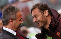 Calcio, Serie A: Roma vs Milan. Roma, stadio Olimpico, 9 gennaio 2016.<br /> AC Milan's coach Sinisa Mihajlovic, left, greets Roma's Francesco Totti prior to the start of the Italian Serie A football match between Roma and Milan at Rome's Olympic stadium, 9 January 2016.<br /> UPDATE IMAGES PRESS/Riccardo De Luca