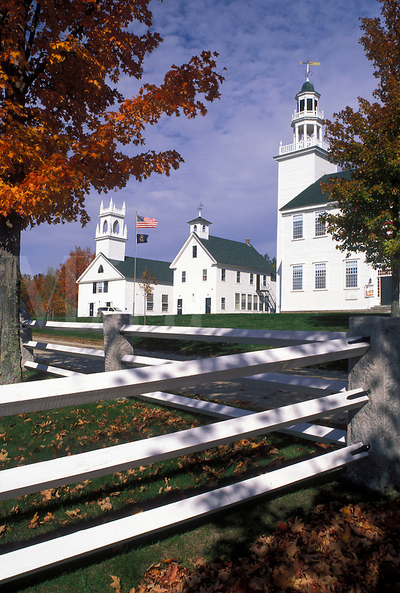 Washington, NH, New Hampshire, Historic Community Buildings on the Green in the fall.
