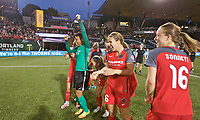 Portland, OR - Saturday May 27, 2017: Adrianna Franch, Mallory Weber, Emily Sonnett during a regular season National Women's Soccer League (NWSL) match between the Portland Thorns FC and the Boston Breakers at Providence Park.