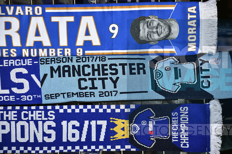 Chelsea and Manchester City scarfs for sale for the premier league match at the Stamford Bridge stadium, London. Picture date 30th September 2017. Picture credit should read: Robin Parker/Sportimage