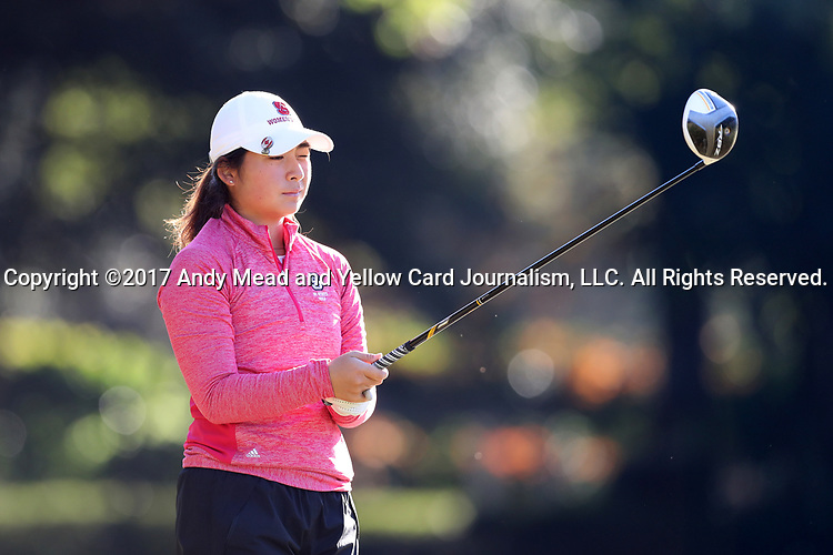 WILMINGTON, NC - OCTOBER 27: NC State's Naomi Ko (CAN) on the 12th tee. The first round of the Landfall Tradition Women's Golf Tournament was held on October 27, 2017 at the Pete Dye Course at the Country Club of Landfall in Wilmington, NC.