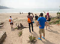 Incoming first-years participate in Oxy Engage with a visit to Rincon Surf Beach on Aug. 19, 2014, one of the stops made by the California Coast group. (Photo by Marc Campos, Occidental College Photographer)
