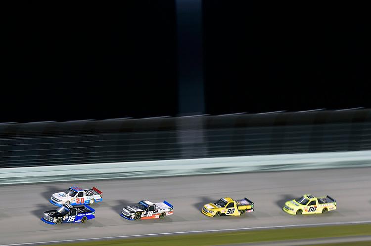 #16: Brett Moffitt, Hattori Racing Enterprises, Toyota Tundra AISIN Group and #20: Tanner Thorson, Young's Motorsports, Chevrolet Silverado Go Share