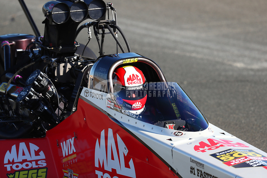 Jul 29, 2017; Sonoma, CA, USA; NHRA top fuel driver Doug Kalitta during qualifying for the Sonoma Nationals at Sonoma Raceway. Mandatory Credit: Mark J. Rebilas-USA TODAY Sports