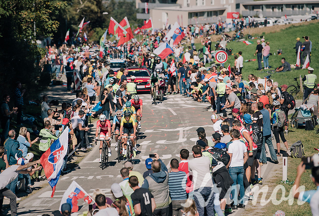 a lot of fans up the big climb<br /> <br /> MEN ELITE ROAD RACE<br /> Kufstein to Innsbruck: 258.5 km<br /> <br /> UCI 2018 Road World Championships<br /> Innsbruck - Tirol / Austria
