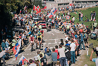 a lot of fans up the big climb<br /> <br /> MEN ELITE ROAD RACE<br /> Kufstein to Innsbruck: 258.5 km<br /> <br /> UCI 2018 Road World Championships<br /> Innsbruck - Tirol / Austria