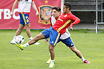 Spain's Hector Bellerin (b) and Thiago Alcantara during preparing training stage to Euro 2016. May 30,2016.(ALTERPHOTOS/Acero)