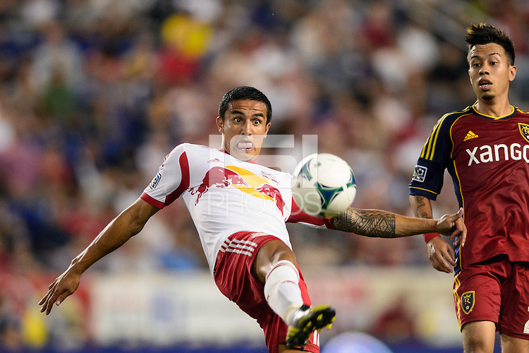 Tim Cahill (17) of the New York Red Bulls. The New York Red Bulls defeated Real Salt Lake 4-3 during a Major League Soccer (MLS) match at Red Bull Arena in Harrison, NJ, on July 27, 2013.