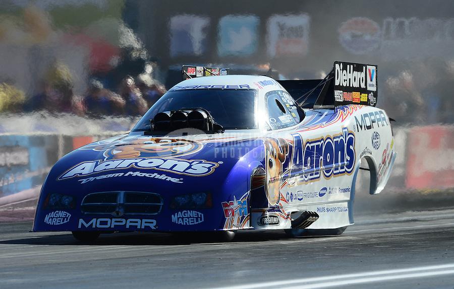 Oct. 28, 2012; Las Vegas, NV, USA: NHRA funny car driver Matt Hagan during the Big O Tires Nationals at The Strip in Las Vegas. Mandatory Credit: Mark J. Rebilas-