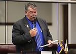 Nevada Sen. Pete Goicoechea, R-Eureka, speaks on the Senate floor at the Legislative Building in Carson City, Nev., on Friday, May 24, 2013. <br /> Photo by Cathleen Allison