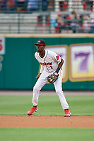 Rochester Red Wings shortstop Nick Gordon (1) during an International League game against the Buffalo Bisons on May 31, 2019 at Frontier Field in Rochester, New York.  Rochester defeated Buffalo 5-4 in ten innings.  (Mike Janes/Four Seam Images)