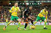 31st October 2017, Carrow Road, Norwich, England; EFL Championship football, Norwich City versus Wolverhampton Wanderers; Wolverhampton Wanderers midfielder Ivan Cavaleiro battles with Norwich Citys James Husband Tom Trybull