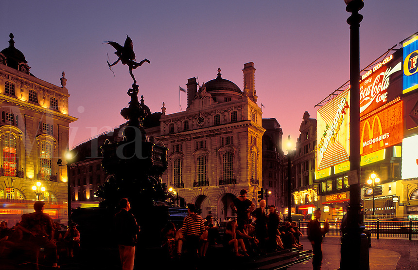England, London.  Piccadilly Circus, at night