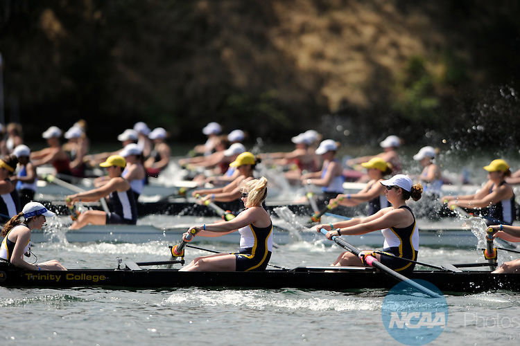 28 MAY 2011: Trinity College IIpowers out of the start in the Petite Eights Final during the 2011 NCAA Division III Women's Rowing Championship hosted by Washington State University held at the Sacramento State Aquatic Center in Gold River, CA. Trinity II placed 6th in the race. Brett Wilhelm/NCAA Photos