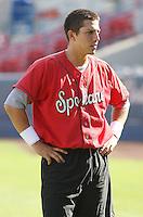Spokane Indians outfielder Jake Skole #18 before a game vs.the Eugene Emeralds at Avista Stadium in Spokane, Washington, on August 20, 2010. Photo By Robert Gurganus/Four Seam Images