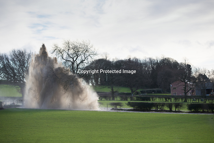 15/01/19<br /> <br /> A giant spout of water fires into the sky as high as a tall tree after locals say a farmer burst a water main while putting in a fence post this morning. The torrent of water near Shaws Lane, has caused flooding in the nearby village of Milford, Derbyshire. <br /> <br /> <br /> All Rights Reserved, F Stop Press Ltd.  (0)7765 242650  www.fstoppress.com rod@fstoppress.com