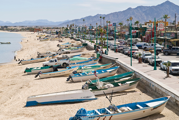 Beach covered in small fishing boat, San Felipe, Baja California, Mexico