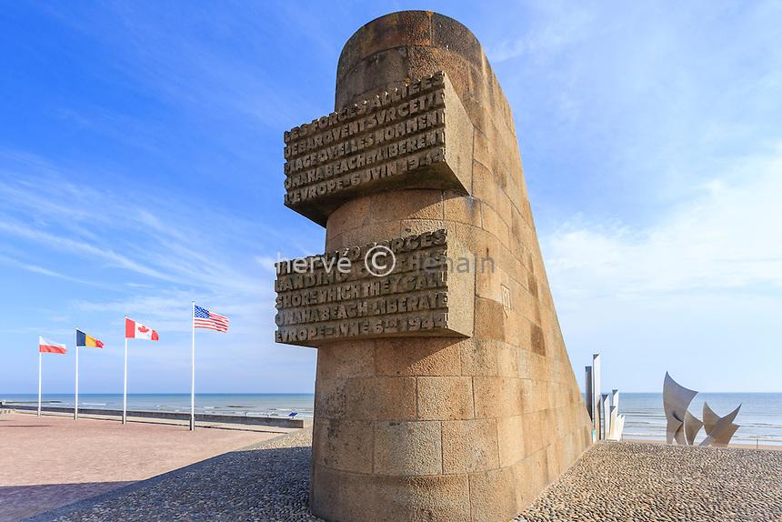 France, Calvados (14), Vierville-sur-Mer, en bord de la plage d'Omaha Beach, monument commémoratif du débarquement des alliés // France, Calvados, Vierville sur Mer, along the beach of Omaha Beach memorial Allied landings