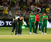 8th November 2019; Optus Stadium, Perth, Western Australia Australia; T20 Cricket, Australia versus Pakistan; Aaron Finch and David Warner of Australia hug after an unbeaten opening stand to defeat Pakistan by 10 wickets - Editorial Use