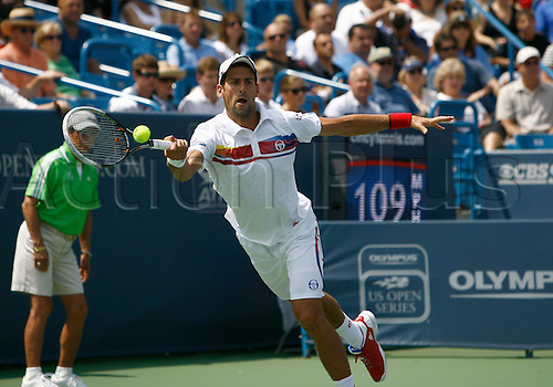 21.08.2011..No. 1 ranked Novak Djokovic [SRB] in the Men's Final's match at the Western & Southern Open at the Lindner Family Tennis Center in Mason, Ohio...Djokovic retired from the match against Andy Murray [GBR] for medical reasons ending his tournament win streak at 16...