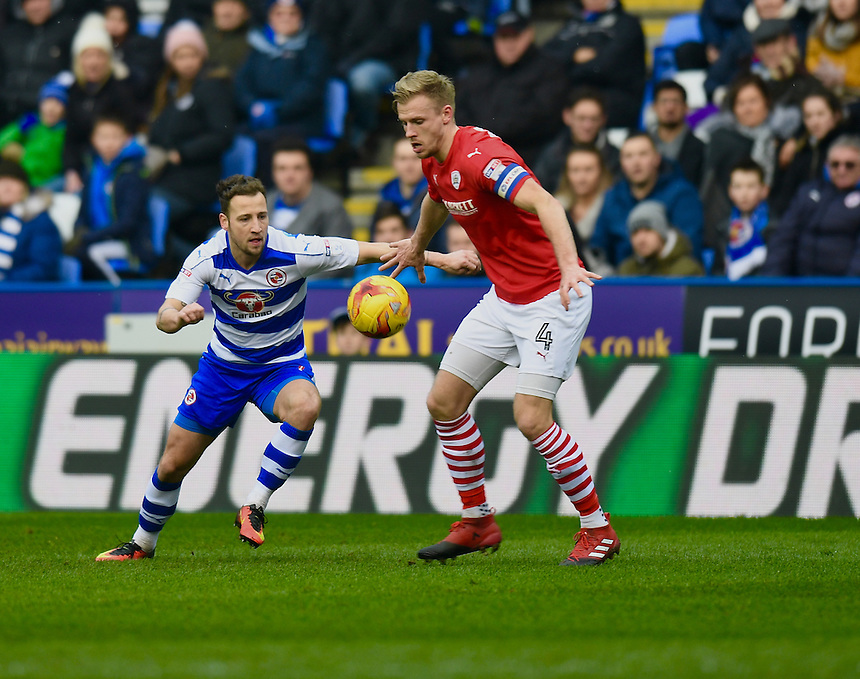 Reading's Roy Beerens  battles with Barnsley's Marc Roberts<br /> <br /> Photographer David Horton/CameraSport<br /> <br /> The EFL Sky Bet Championship - Reading v Barnsley - Saturday 11th February 2017 - Madejski Stadium - Reading<br /> <br /> World Copyright &copy; 2017 CameraSport. All rights reserved. 43 Linden Ave. Countesthorpe. Leicester. England. LE8 5PG - Tel: +44 (0) 116 277 4147 - admin@camerasport.com - www.camerasport.com