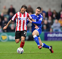 Lincoln City's Neal Eardley vies for possession with Chesterfield's Jordan Flores<br /> <br /> Photographer Chris Vaughan/CameraSport<br /> <br /> The EFL Sky Bet League Two - Lincoln City v Chesterfield - Saturday 7th October 2017 - Sincil Bank - Lincoln<br /> <br /> World Copyright &copy; 2017 CameraSport. All rights reserved. 43 Linden Ave. Countesthorpe. Leicester. England. LE8 5PG - Tel: +44 (0) 116 277 4147 - admin@camerasport.com - www.camerasport.com