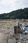 Photo shows vacant land, once the site of a thriving fishing community near Kyubun beach on the Oshika Peninsula, Ishinomaki City, Miyagi Prefecture, Japan on 04 Sept, 2011, 6 months after the mega-tsunami ripped through the area..Photographer: Robert Gilhooly