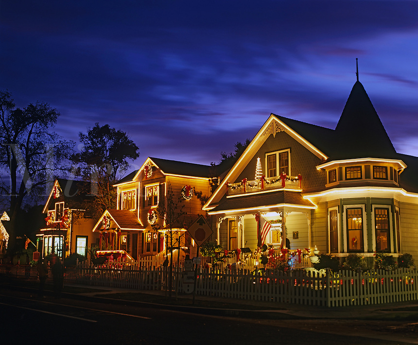 Victorian houses with Christmas decoreations Paso Robles, California