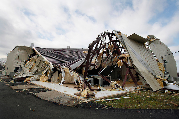 What is left of the Union Grove Freewill Baptist Church in Atkins, Ark. Wednesday, Feb 06, 2008 after being hit by a tornado Tuesday night.