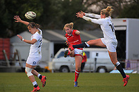 Emily Belchos clears during the 2017 International Women's Rugby Series rugby match between England Roses and Canada at Rugby Park in Christchurch, New Zealand on Tuesday, 13 June 2017. Photo: Dave Lintott / lintottphoto.co.nz