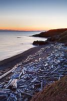 Driftwood strewn beach, Grandmas Cove, American Camp, San Juan Island National Historical Park, San Juan Island, San Juan County, Washington, USA